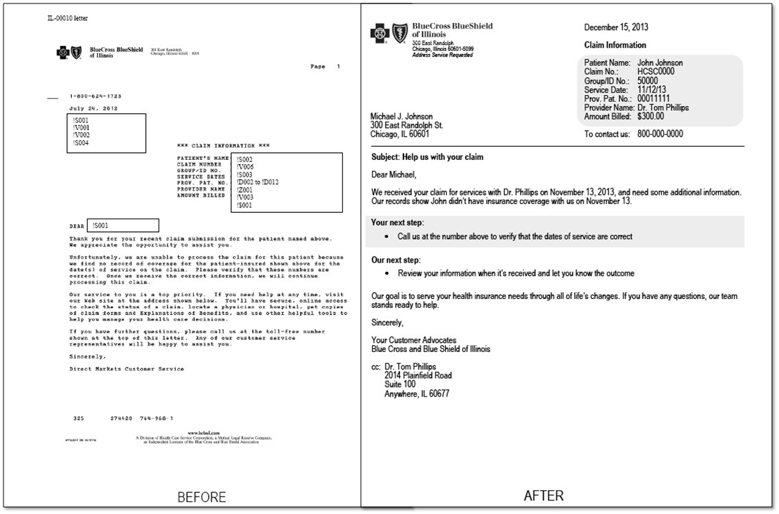Image of before and after letter written in plain language
