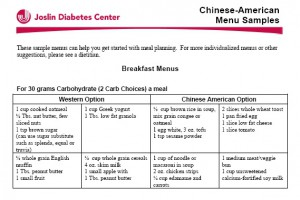 Chinese menu for diabetes management