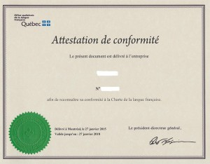certificate from Office of French language