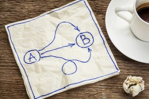 napkin with convoluted image depicting the metaphor of the translation quoting process