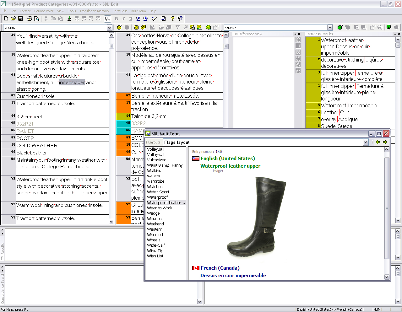 Screenshot of terminology management in Trados software for catalog localization of Naturalizer
