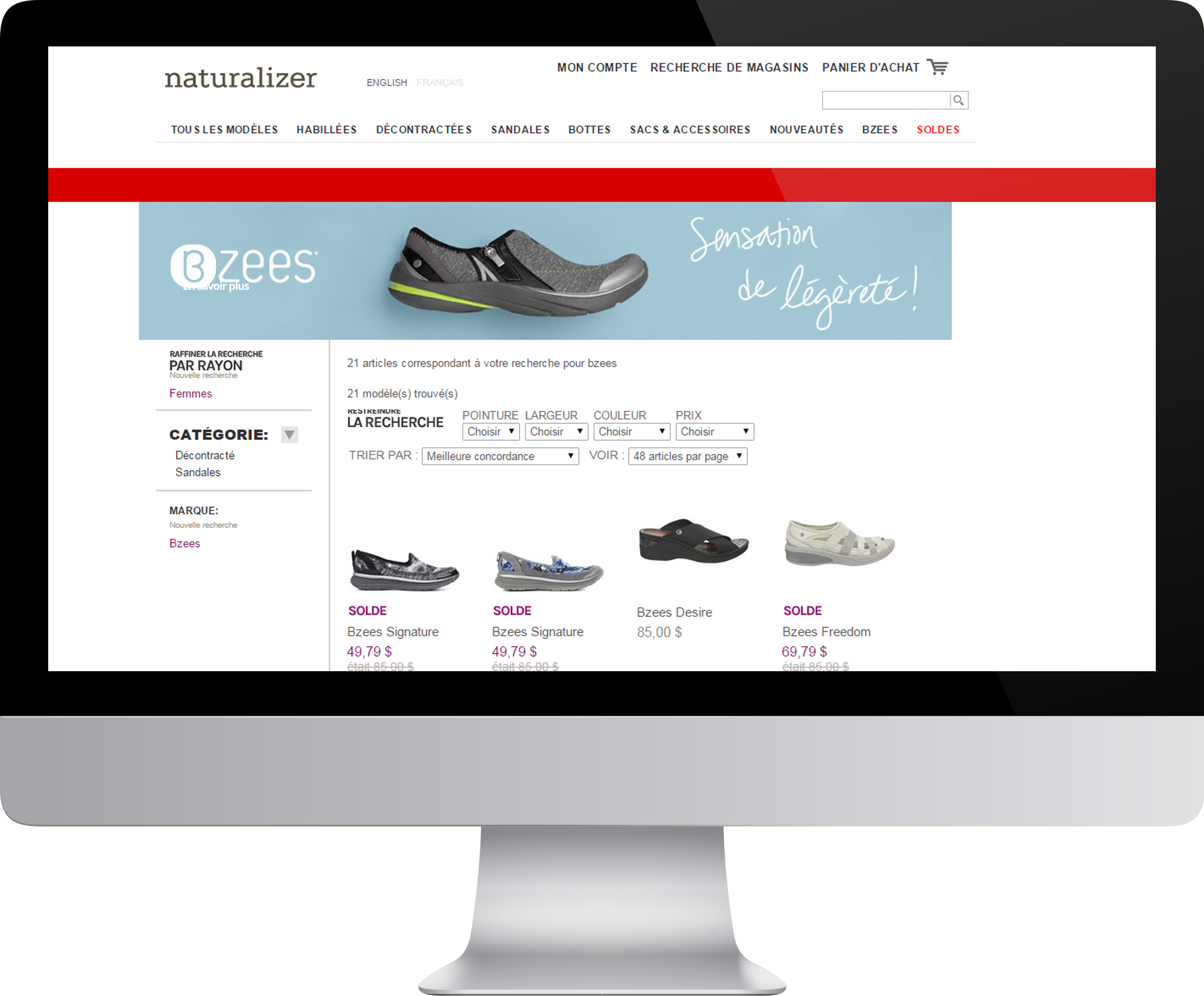 French website catalog localization screenshot of Naturalizer online