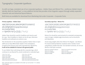 In this 2010 style guide, Adobe defines it's new corporate typefaces to provide a richer linguistic support with advanced layout features