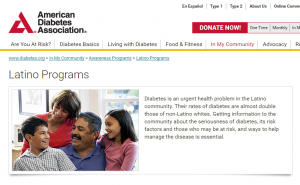 American Diabetes Assn web page for Latinos offering healthcare translations for diverse communities