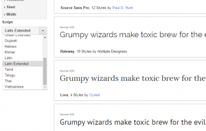 Google Web Fonts - script filter