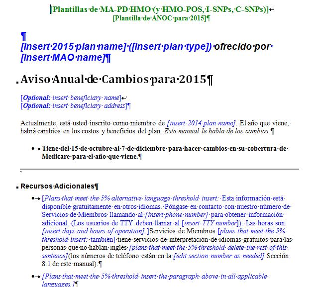 Model Document Spanish example