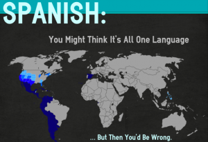Map showing parts of the world where Spanish is spoken