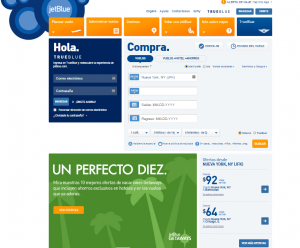 jet blue spanish page website localization
