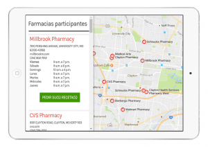 App Translation of a digital prescription app to find a pharmacy