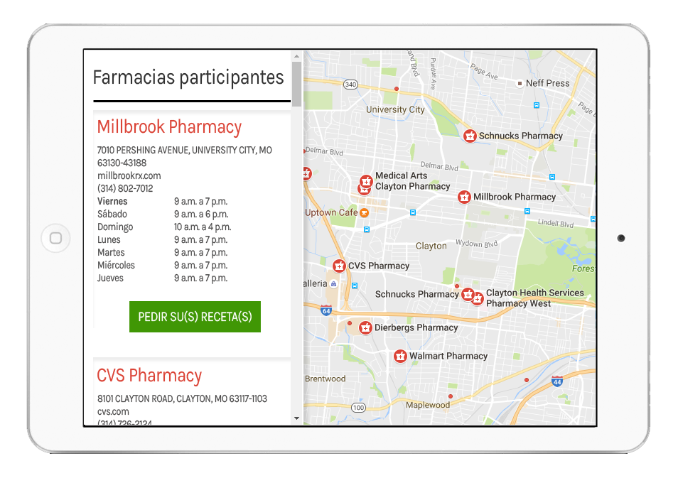 Illustration of Prescription Discount App in Spanish