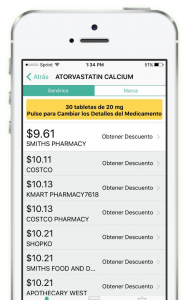 Screenshot of MediBajo's Prescription Discount App
