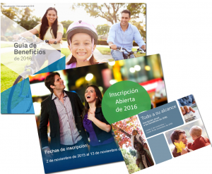 Images of open enrollment brochures in Spanish
