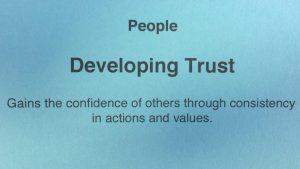 Competency modeling card of People- Developing Trust - Strategic Leadership