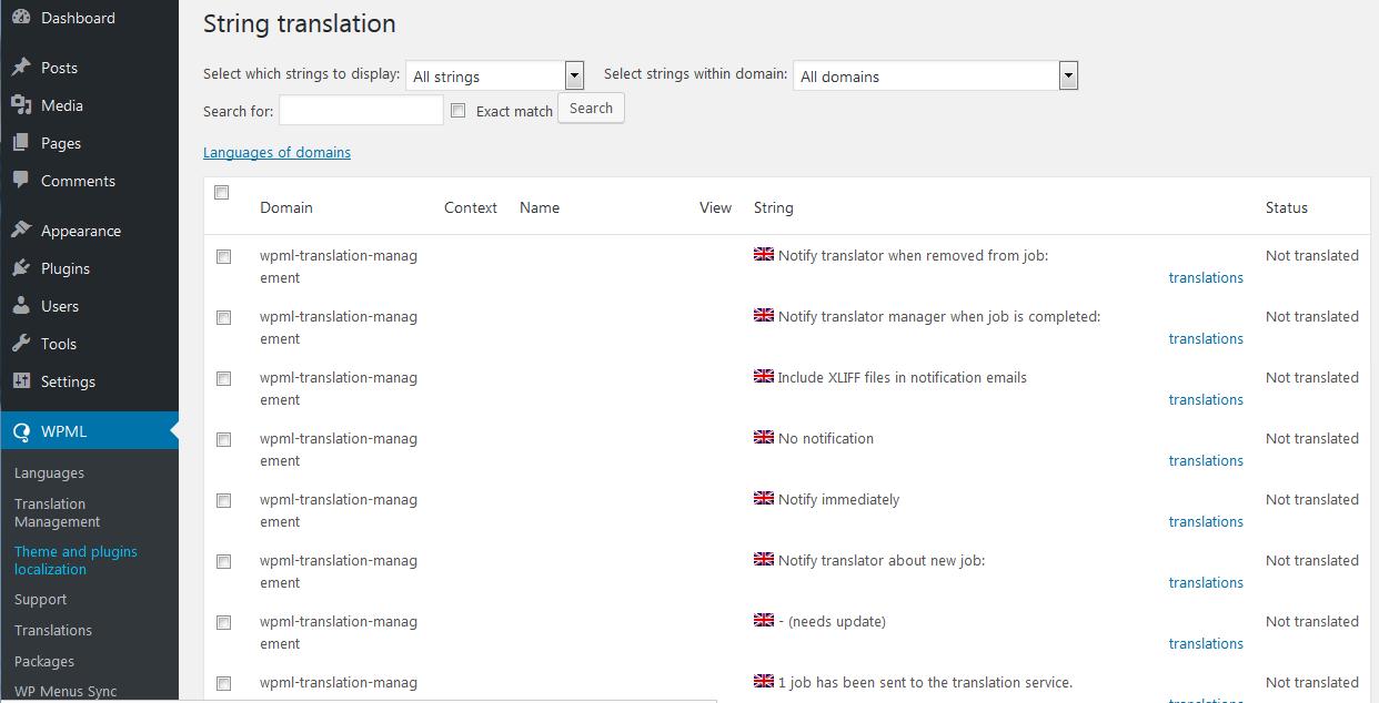 WPML Theme Translation