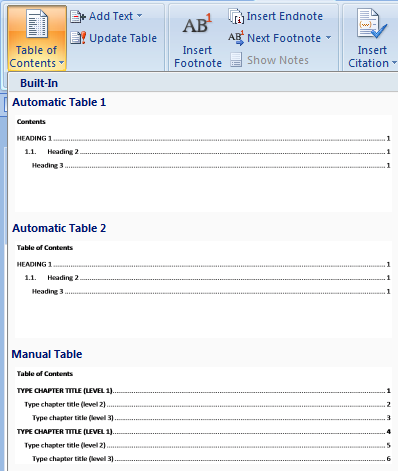 Translating in Word: Creating a Table of Contents