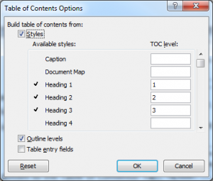 Image of Table of Contents Options