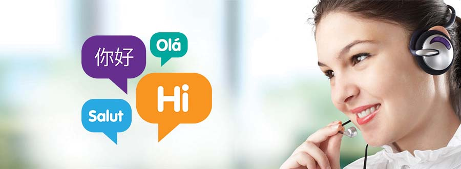 woman on phone with hello in different language bubbles depicting multilingual call center