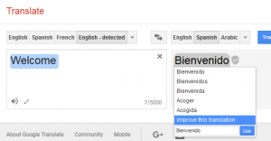Image of free Translation in Google of Welcome in Spanish
