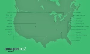Map of Top 20 Cities selected finalists for Amazon HQ2