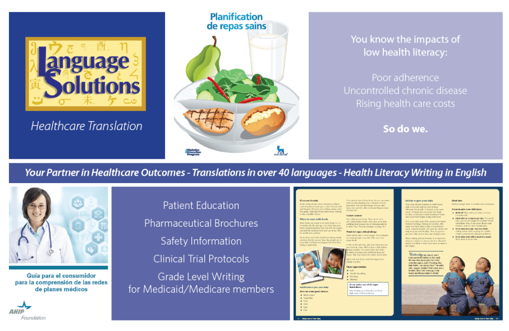 healthcare translations postcard showing examples of work