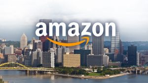 Amazon logo over city