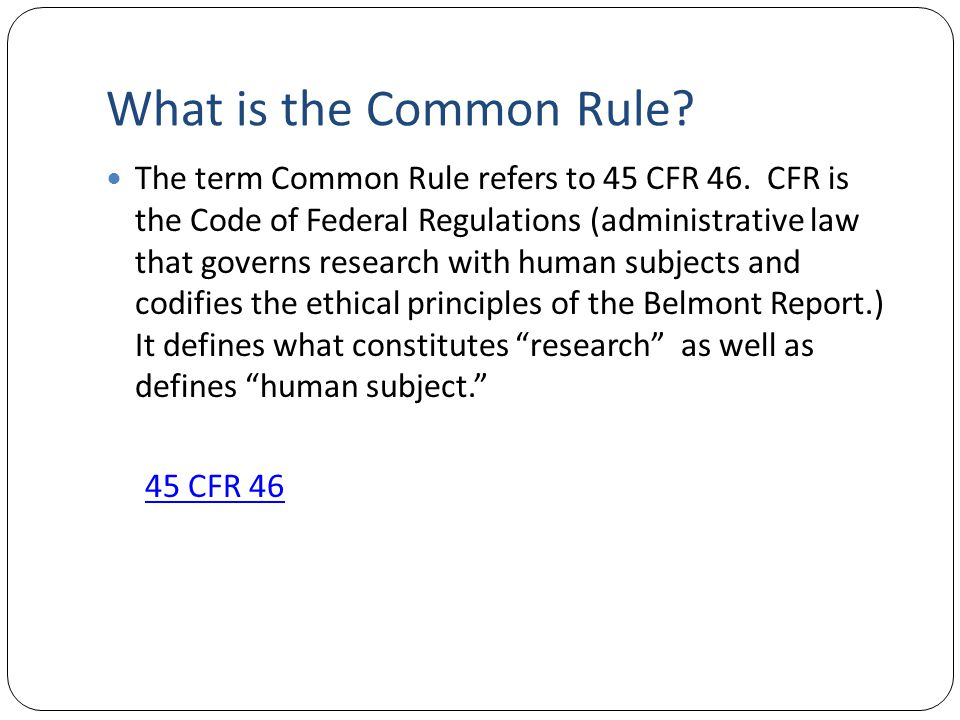 Revised Common Rule
