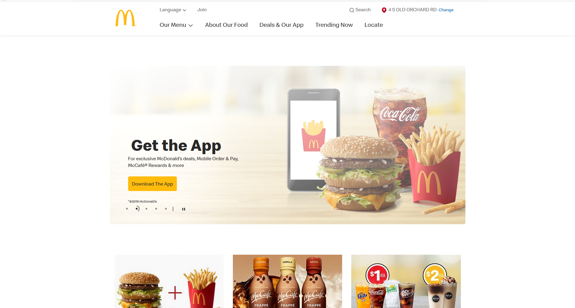 Image of McDonald's USA website as an example of Cross-cultural communication