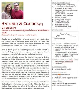 An example of a persona made up of co-browsers, Antonio and Claudia