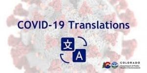 COVID-19 Translations visualized with a translation app icon and a close-up of the virus