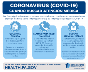 A poster in Spanish with information about When to Seek Care for COVID-19