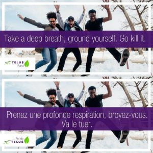 The same ad for Telus appears in English and in French