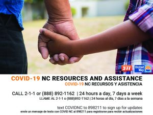 Advertisement for a COVID-19 information hotline available in English and Spanish