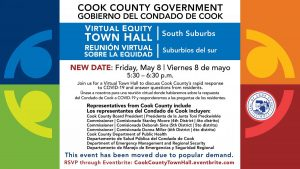An advertisement for a Virtual Equity Town Hall meeting to be held in Cook County, Chicago