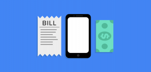 A bill of sale, a cellphone, and a dollar bill