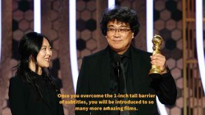 Sharon Choi and Bong Joon Ho on stage at the Golden Globes