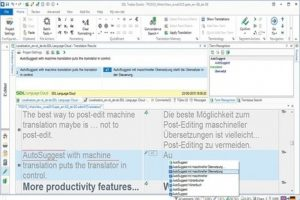 A screenshot of SDL Trados Studio showing the Translation Results and AutoSuggest tools