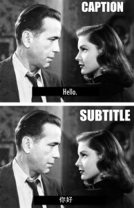 Two identical screen stills of Humphrey Bogart and Ingrid Bergman, one with closed captions in English and the other with professional video subtitle translations in Chinese