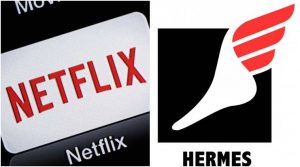 Logos of Netflix and Hermes