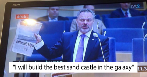 """A Swedish newscast with the subtitle """"I will build the best sand castle in the galaxy"""""""