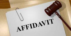 An affidavit sitting under a gavel for c