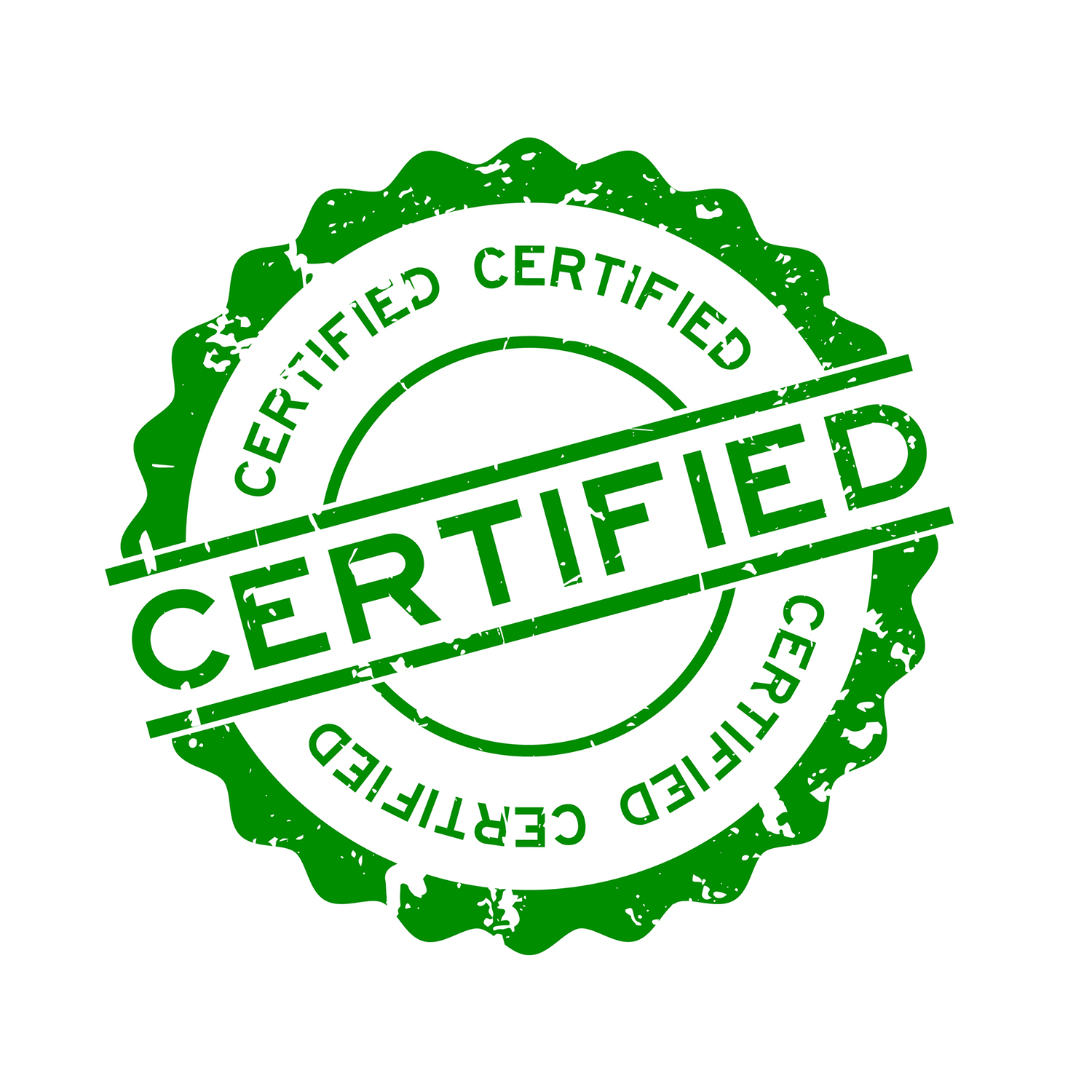 """green """"Certified"""" stamp"""