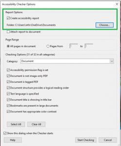 Accessibility check dialogue box in Adobe Acrobat
