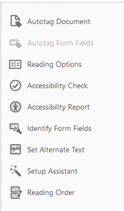 Accessibility panel in Adobe Acrobat