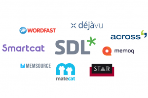 Logos of various CAT tools, including SDL, Smartcat, MemoQ, and Déjà Vu