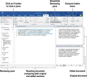 View of the compare pane in Microsoft Word, one of our top 5 localization tools
